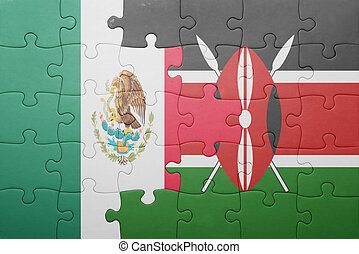 puzzle with the national flag of kenya and mexico concept