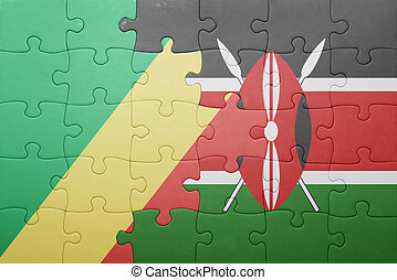 puzzle with the national flag of kenya and republic of the...
