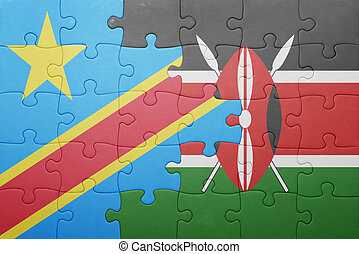 puzzle with the national flag of kenya and democratic...