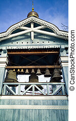 Belfry tower at orthodox church - Belfry wooden tower at...