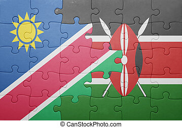 puzzle with the national flag of kenya and namibia. concept
