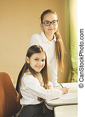 Two cheerful girls in school uniform posing behind desk -...