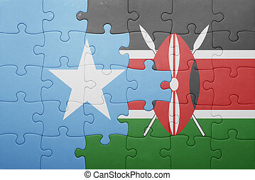 puzzle with the national flag of kenya and somalia. concept