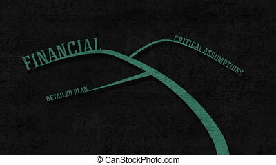 Business Plan - On a dark textured wall mind map zoom and...