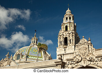 The Tower and Dome at Balboa Park, San Diego, California...