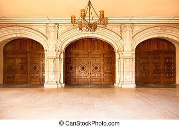 maestoso, classico, arched, porte, Candeliere