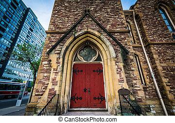 The door of the Grace Toronto Church, in the Garden District, of Toronto, Ontario.