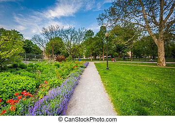 Walkway and gardens at the Allan Gardens, in the Garden District, Toronto, Ontario.