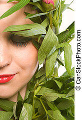 Naturaly beauty - Portrait of a young woman with green...