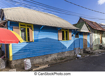 scenic wooden hut in the quarter Carib Territory in Roseau,...