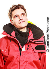 Young man in waterproof clothing