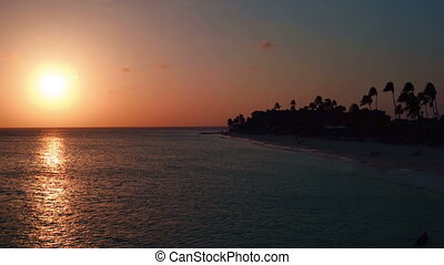 Manchebo beach on Aruba at sunset - Aerial from Manchebo...