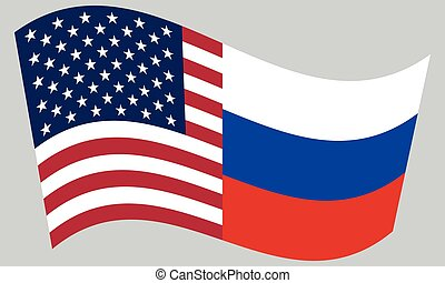 American and Russian flags waving