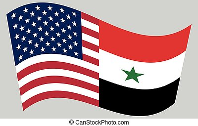 American and Syrian flags waving on gray background