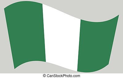 Flag of Nigeria waving on gray background
