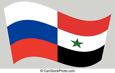 Russian and Syrian flags waving on gray background