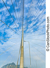 Ting Kau Bridge in Hong Kong under blue sky