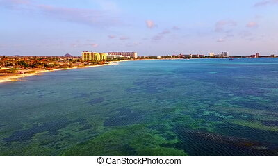 Aerial from the west coast at Aruba island in the Caribbean