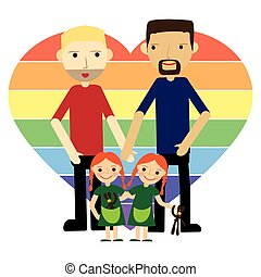 Gay family with twins flat vector illustration. - Gay...
