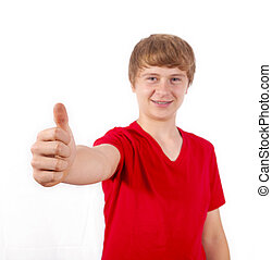 handsome boy in red shirt shows thumbs up sign