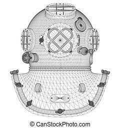 Vintage Diving Helmet Vector ...