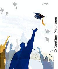 Graduation celebration. - Graduates Silhouettes celebrating...