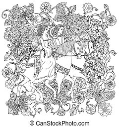 coloting book antistress style picture - Uncoloured prince,...