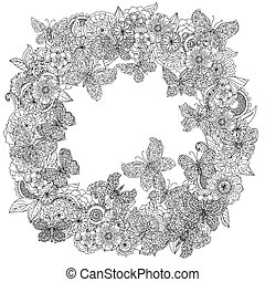 coloring book antistress style picture - Uncoloured flowers...