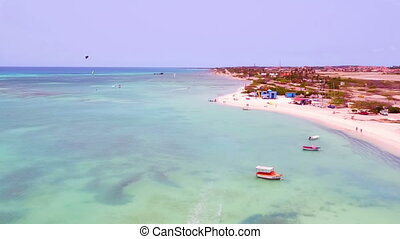 Aerial from kitesurfing at Aruba island in the Caribbean