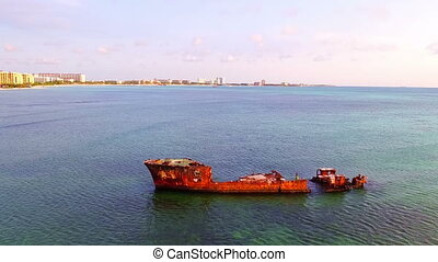 Aerial from an old shipwreck at Aruba island in the Caribbic