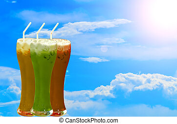 iced drink - Many mix iced drink on blue sky and white...