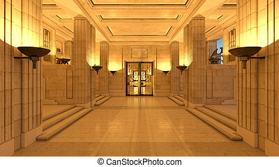 Entrance hall - 3D CG rendering of entrance hall.