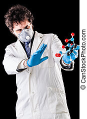 researcher scared by a tnt molecule - a doctor or researcher...
