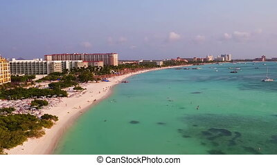 Aerial from Palm Beach on Aruba island in the Caribbean