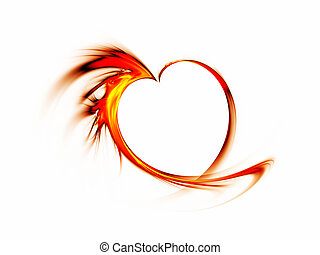 fiery red heart on white background - Abstract blazing red...