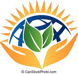 Ecology concept logo - Hands care world logo