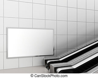 Mock up poster media template ads display in Subway station escalator. 3d rendering