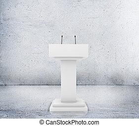 Speaker podium tribune rostrum stand with microphones....