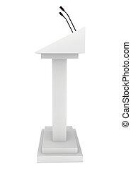 Speaker podium tribune rostrum stand with microphones 3d...