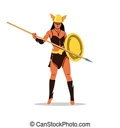 Vector Amazon girl with a spear Cartoon Illustration.