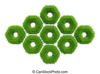 green grass hexagon natural background texture fresh spring...