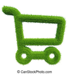 green grass shopping cart natural background texture fresh...