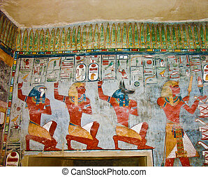 Ancient Egyptian wall painting - Ancient Egyptian Gods and...