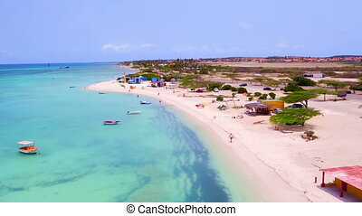 Aerial from Aruba island at Fishermens Huts in the Caribbean