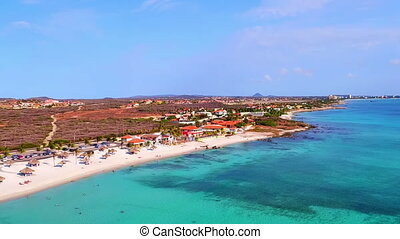 Aerial from Boca Catalina on Aruba island in the Caribbic