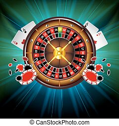 Casino Vector Background with Roulette Wheel, Playing Cards...