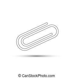 Paper clip on white background. Vector illustration