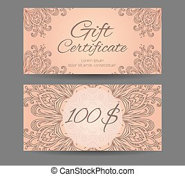 Template gift certificate for yoga studio, spa center,...