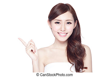 Beauty woman with charming smile - Beauty woman show...