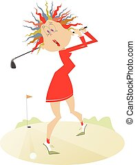 Good day for playing golf - Comic young women is playing...